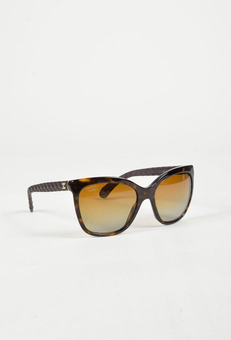 a0abe37092d Lyst - Chanel Brown   Yellow Acetate   Leather Tortoise Shell ...