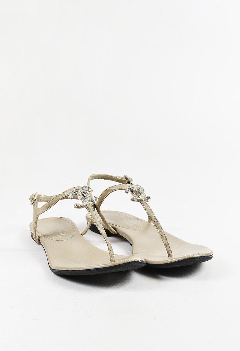 a9272e2f584 Chanel Taupe Gray Leather Crystal  cc  Thong Sandals - Lyst