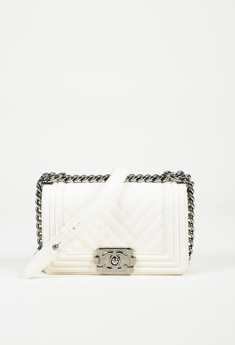 607c28752bb0 Chanel White Lambskin Leather Chevron Quilted Small