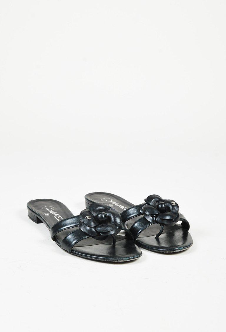 60adcb72a8df97 Chanel Spring 2016 Black Lambskin Leather Camellia Flower Sandals in ...