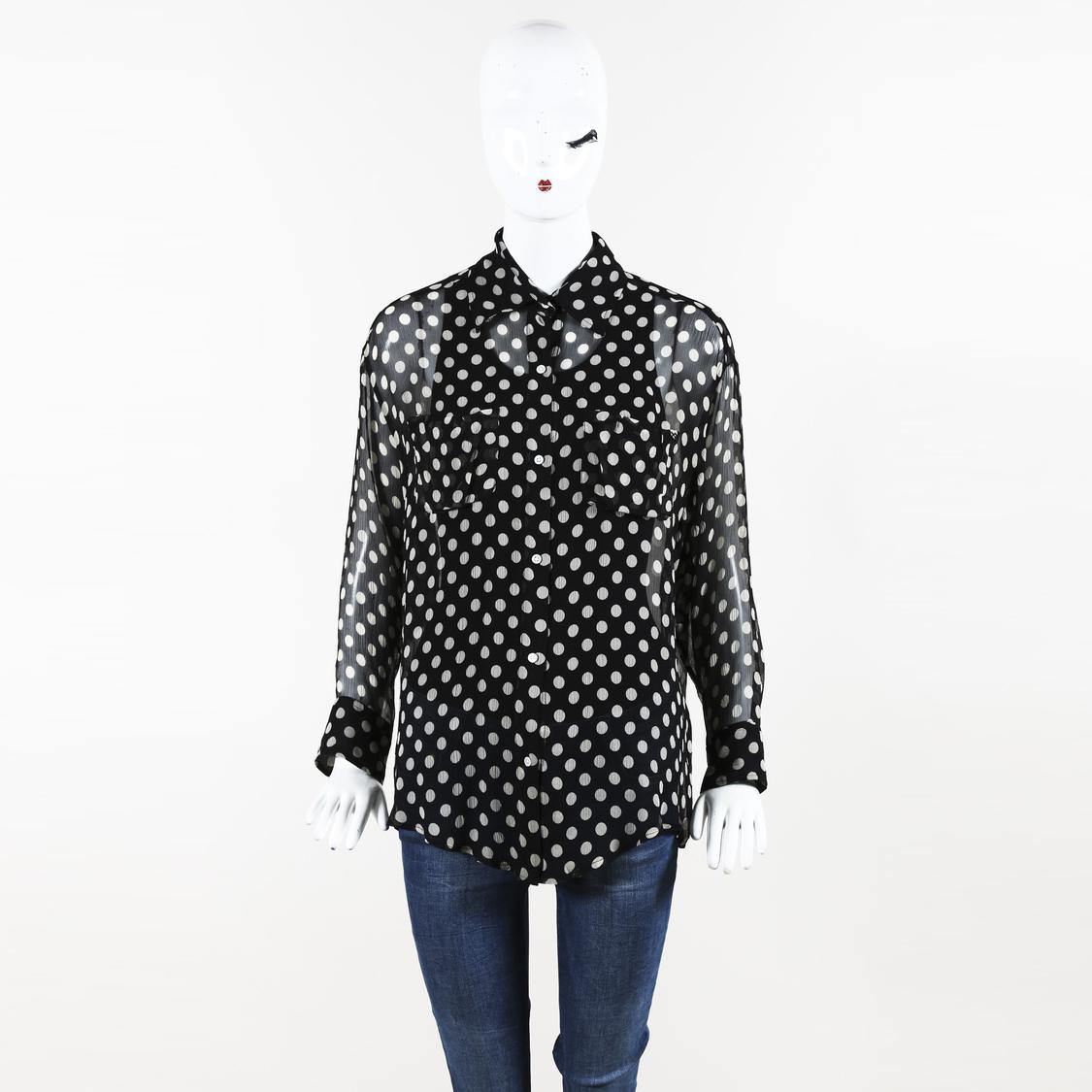 6ba3e73fc1240 Lyst - Elizabeth and James Polka Dot Silk Shirt in Black