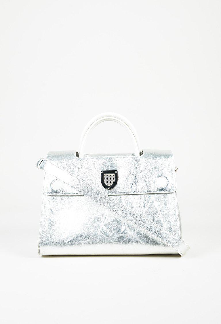 Dior Metallic Silver Calfskin Leather