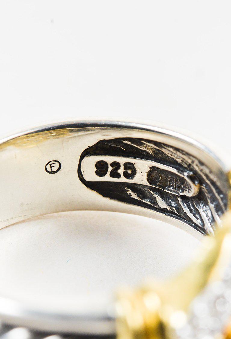 "David Yurman Sterling Silver 18k Gold Diamonds ""two Tone Buckle"" Ring in Metallic"