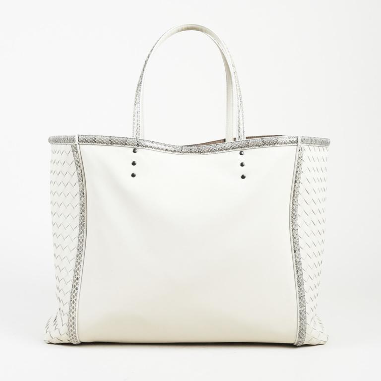 0ee6d23dcd Lyst - Bottega Veneta Intrecciato Leather Snakeskin Tote Bag in White