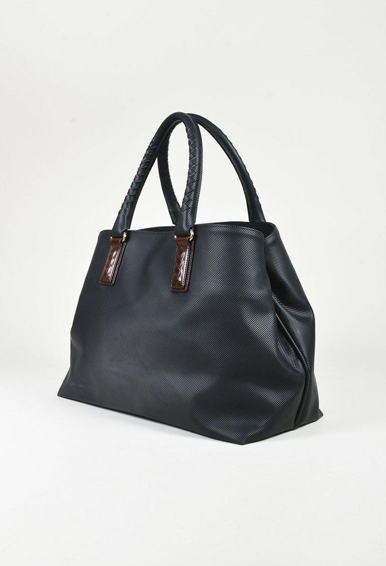 e25eaf9f0c1c Lyst - Bottega Veneta Black Coated Canvas Brown Woven Leather Trim ...