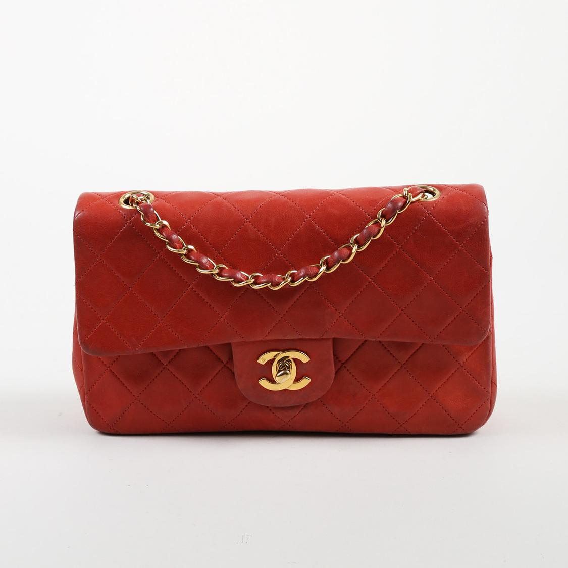 29eae0f88e55bf Chanel Vintage Red Quilted Lambskin Leather
