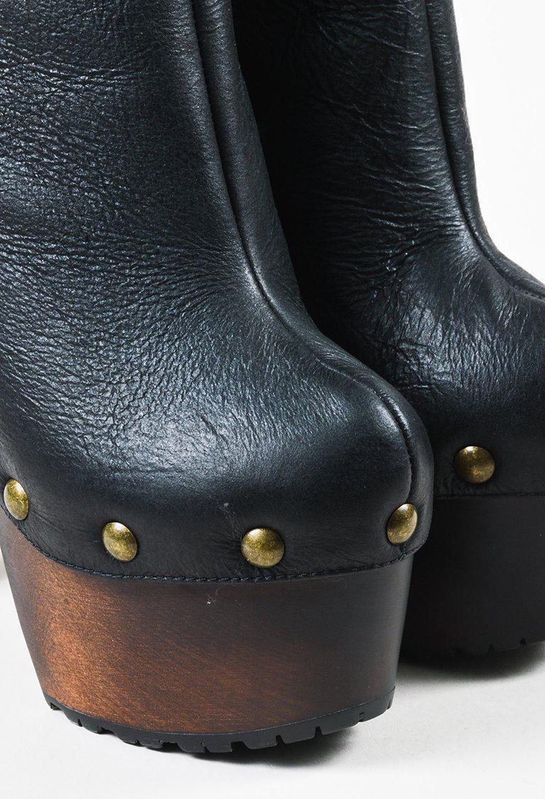 "Giuseppe Zanotti Black Leather Shearling ""tropez 105"" Booties"