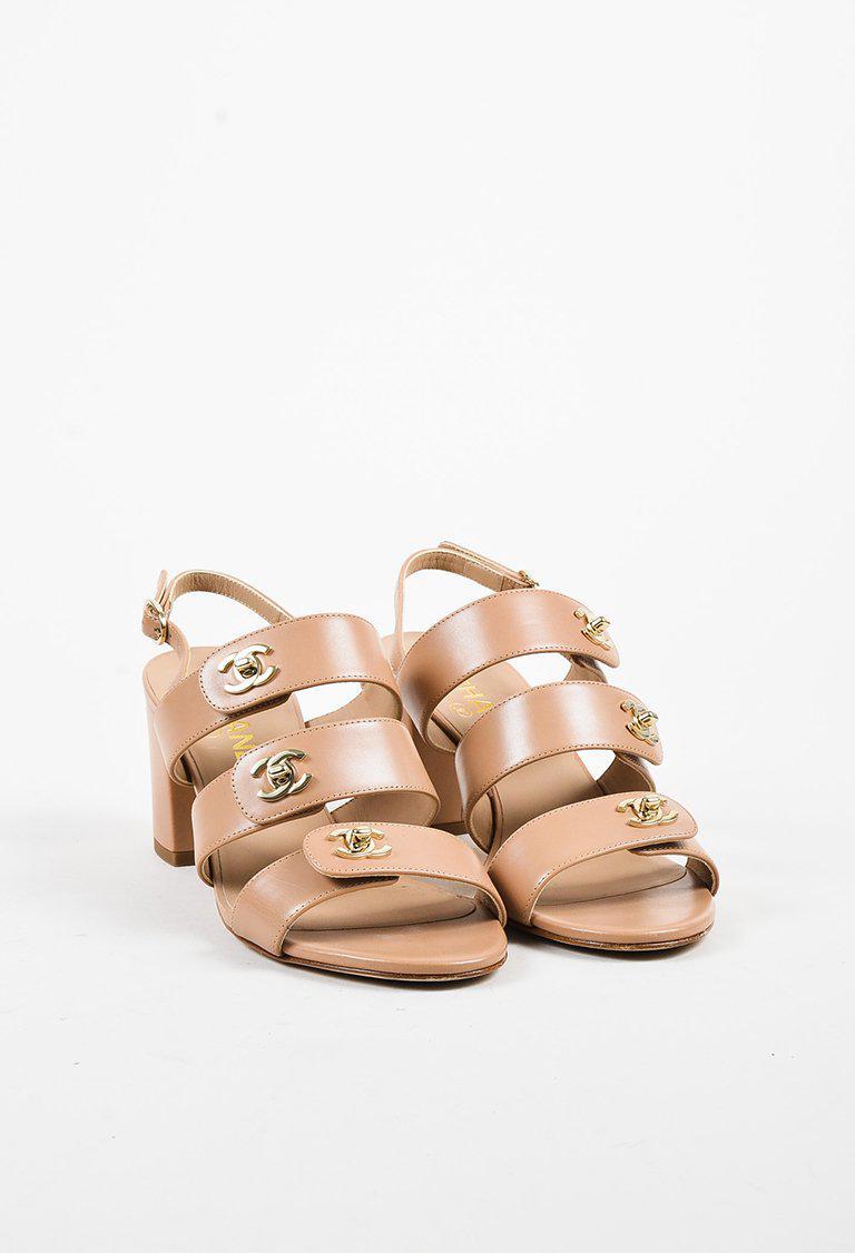bdb0727c622 Chanel Natural Beige Calfskin 'cc' Turnlock Block Heel Slingback Sandals
