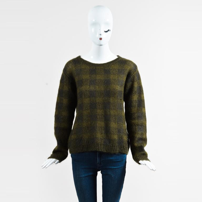 Moncler. Women's Green Wool Blend Check Pattern Ls Pullover Sweater