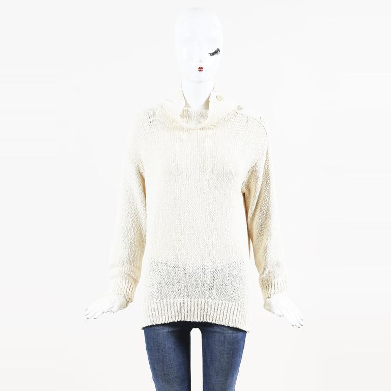 42106727b7 Brunello Cucinelli. Women s Natural Cream Cotton   Linen Knit   Lace Jumper