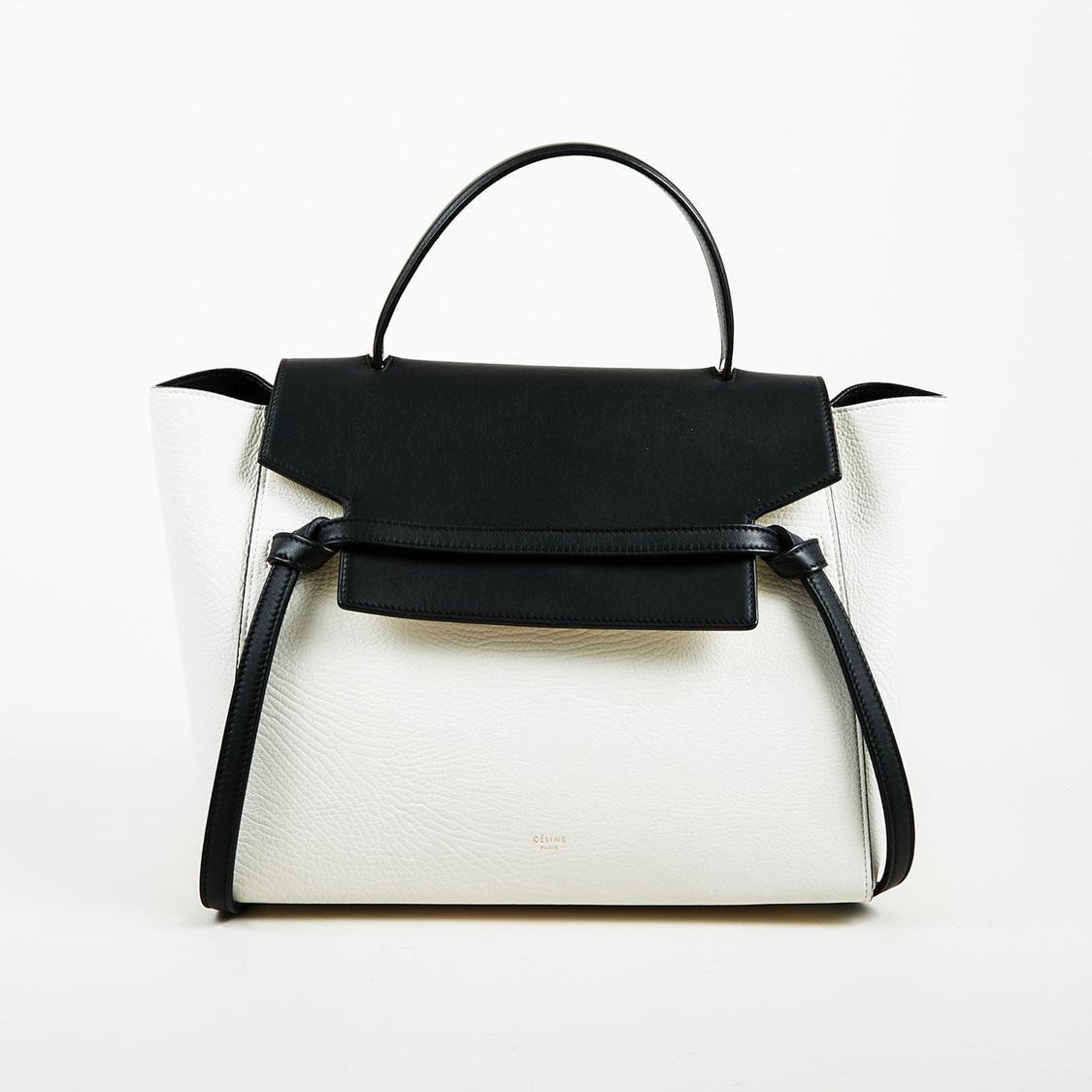 Céline. Women s White   Black Leather Bi Textured Top Handle Mini