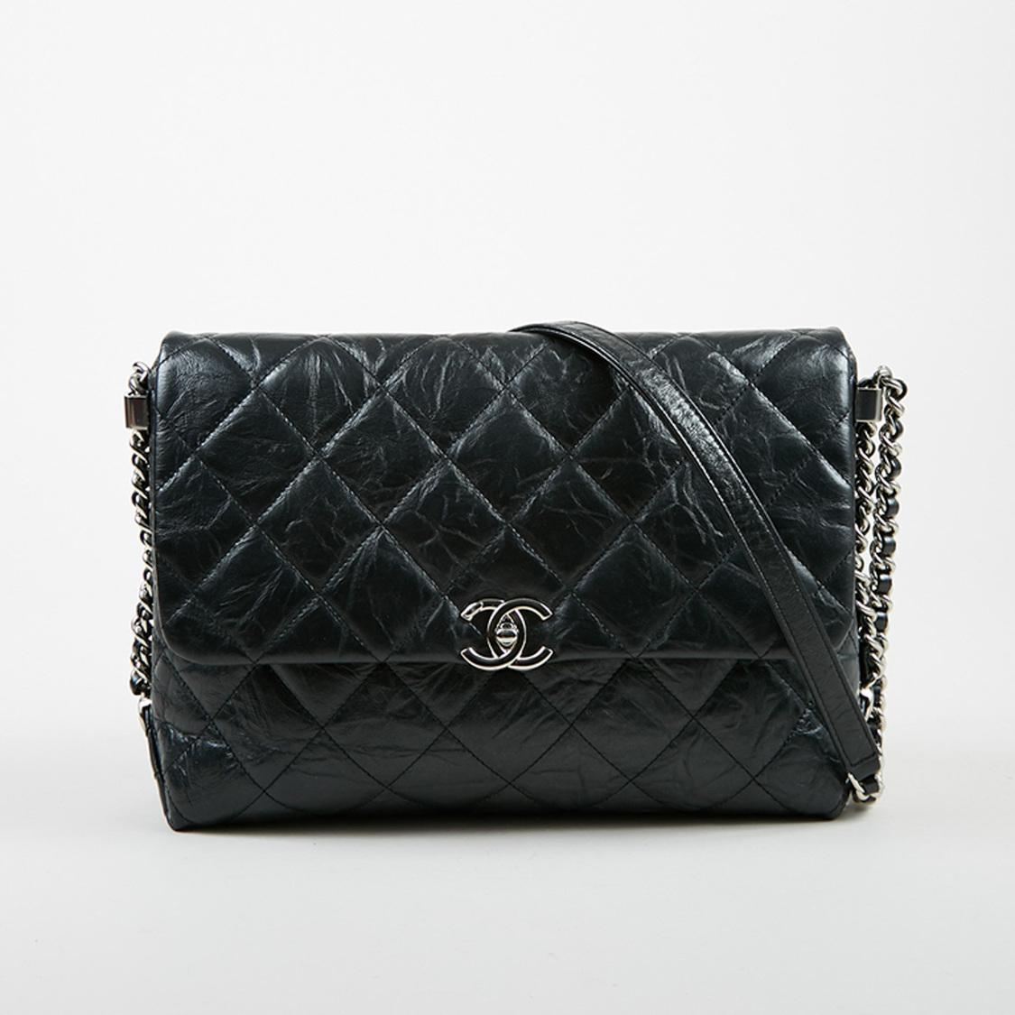 d0dc67e51c62 Chanel Black Quilted Aged Calfskin