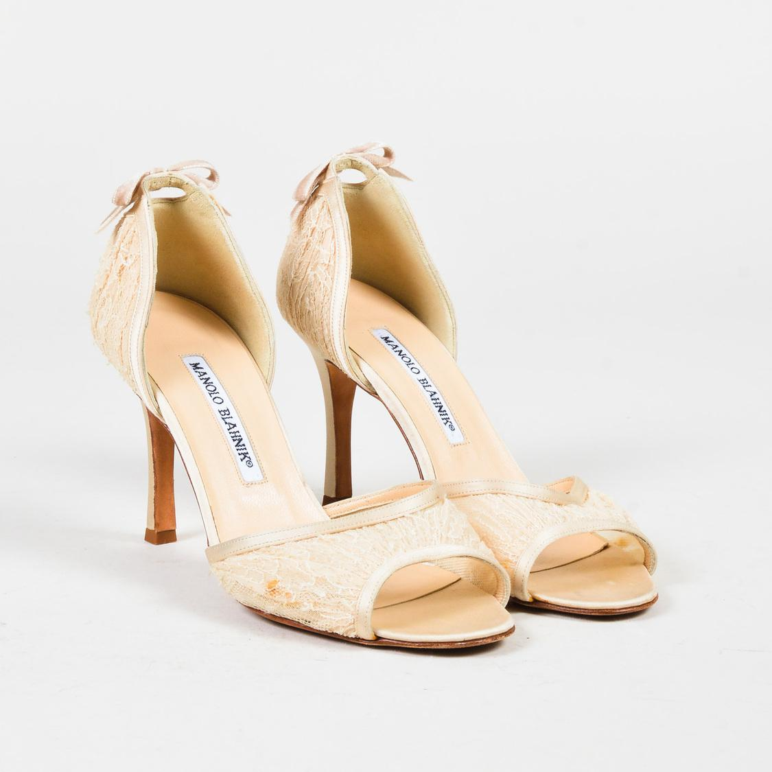 2ec8a0e860 Manolo Blahnik. Women's Natural Cream Lace Satin Trim Peep Toe D Orsay  Sandals