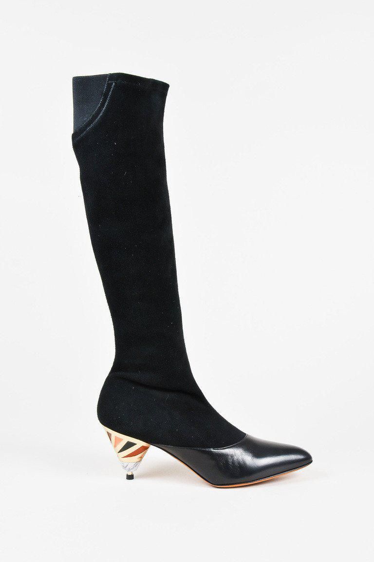 Givenchy Black Suede Cut Out Enamel Heel Over The Knee Boots