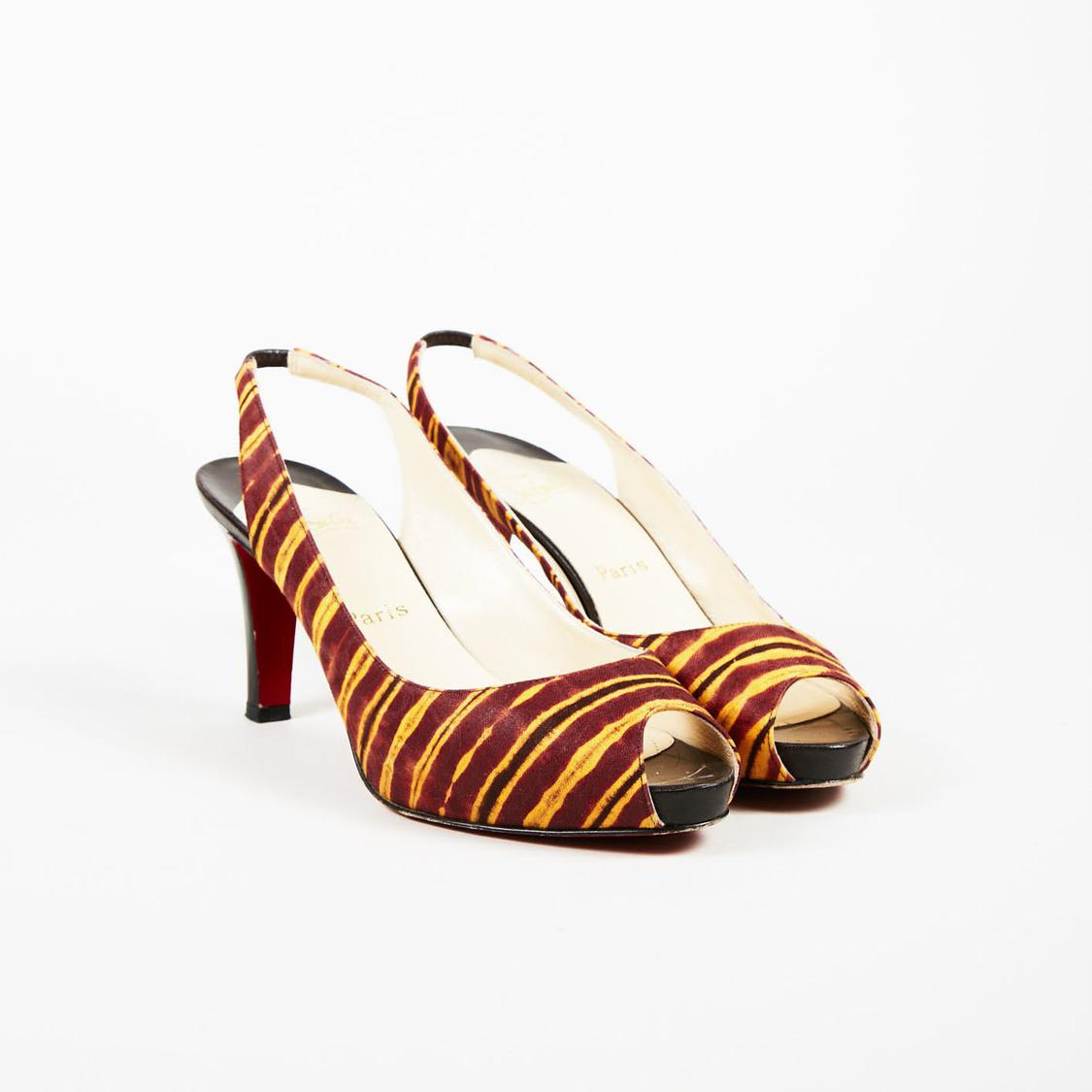 0ae5e69a48c Lyst - Christian Louboutin Red Yellow Multicolor Slingback Pumps in Red