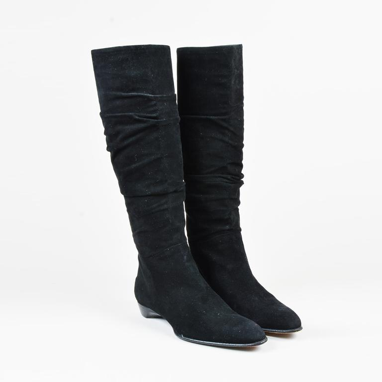 f068e893bde Lyst - Tod s Black Suede Almond Toe Ruched Knee High Boots in Black