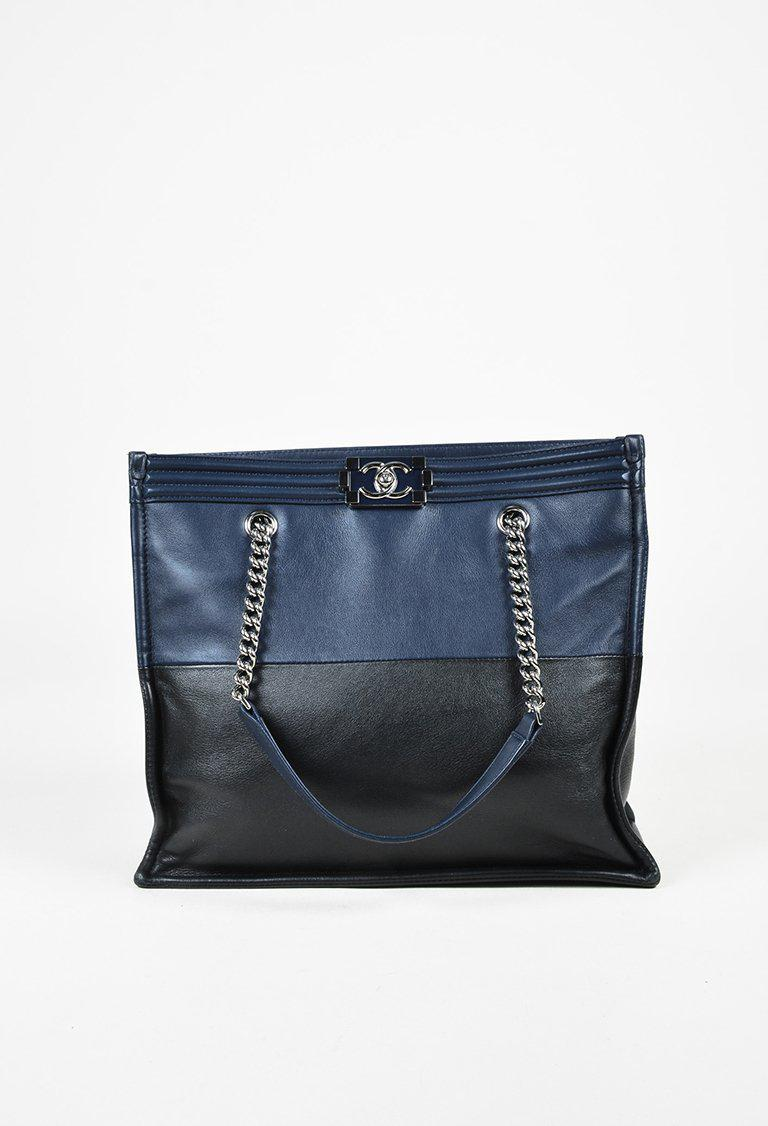 72046e8e40b5 Lyst - Chanel Fall 2015 Blue Black Calfskin Leather