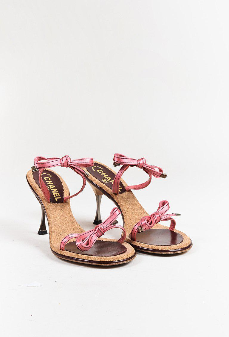 006bcdb57522 Lyst - Chanel Pink Satin Strappy Bow Mid Heel Mule Sandals in Pink