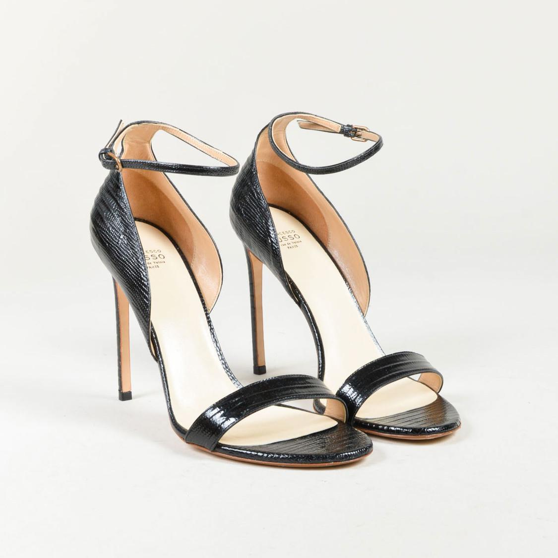 12d31e928835 Francesco Russo. Women s Nero Black Lizard Skin   Leather Ankle Strap  Sandals