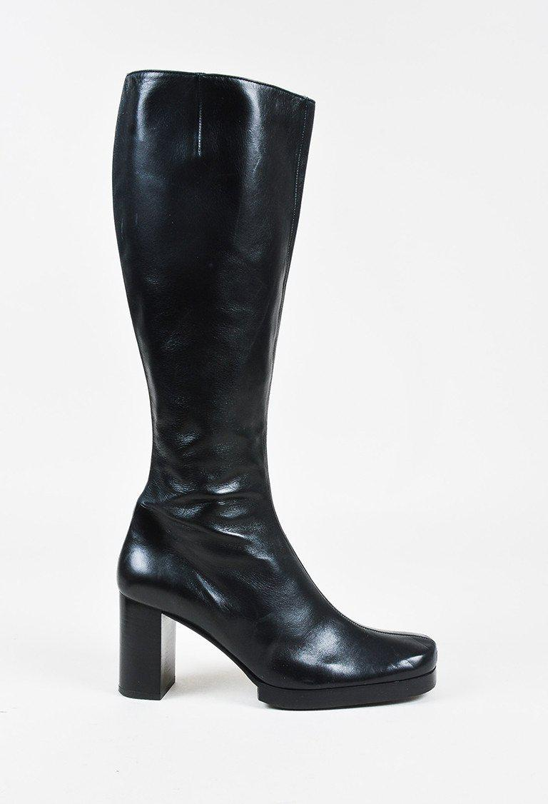 Robert Clergerie Black Leather Round Toe Chunky Heel Knee High Boots