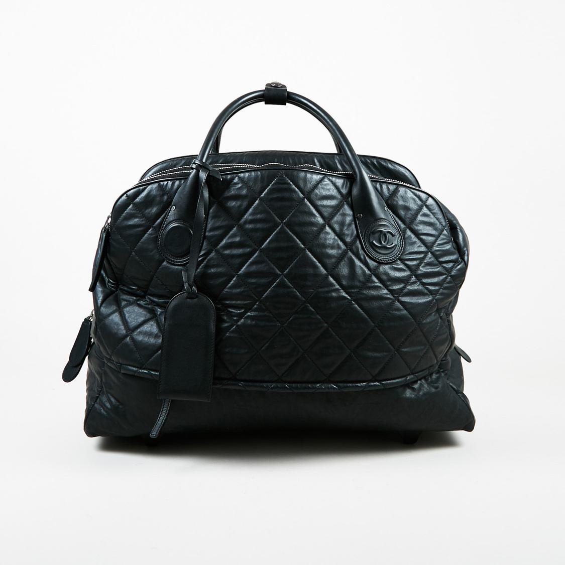 Black Quilted Multi Compartment