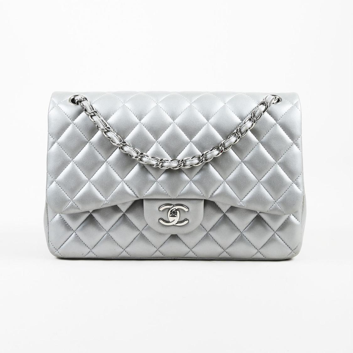 5f826232cb23b2 Chanel Metallic Silver Lambskin Quilted Jumbo Classic Double Flap ...