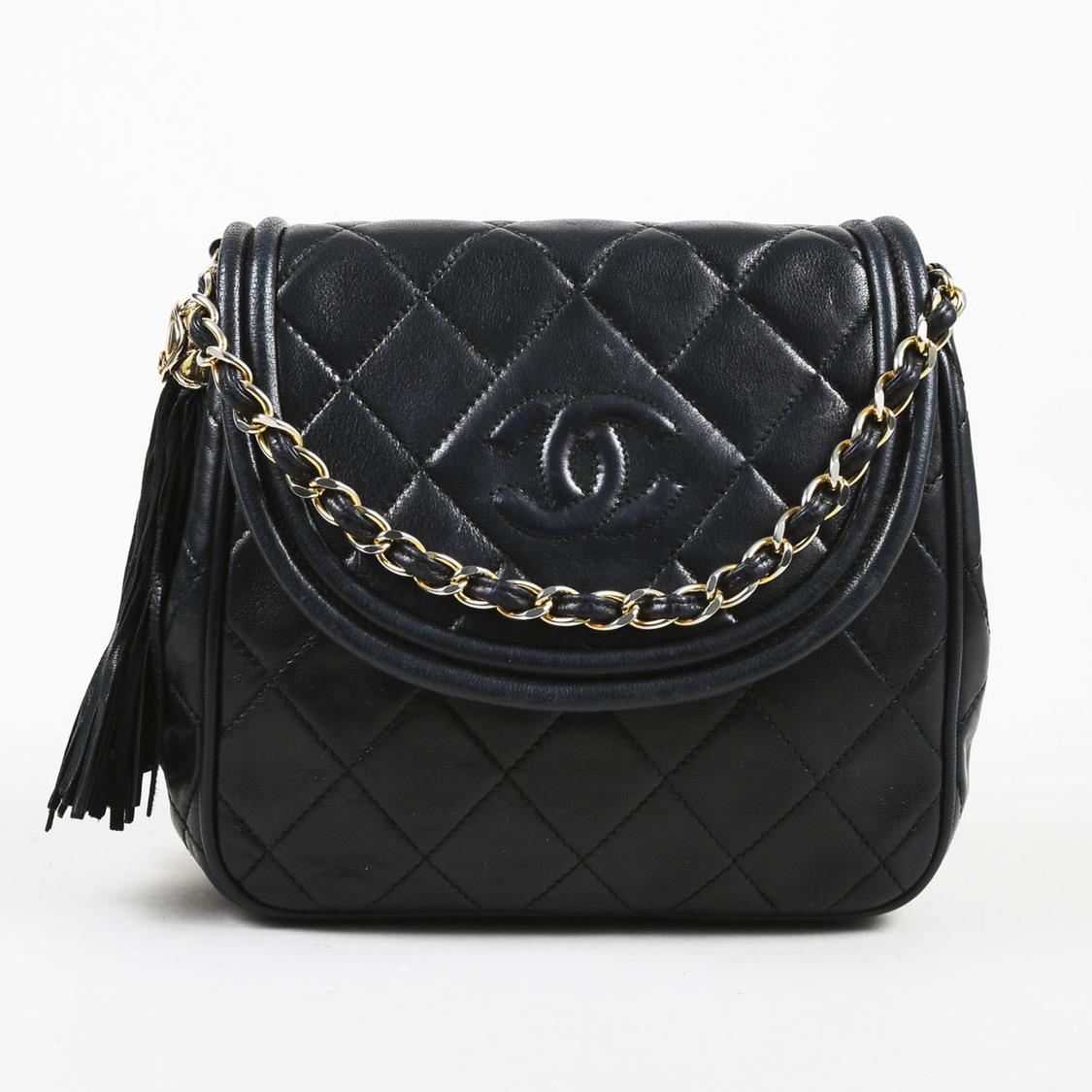 3a7f8d2971b0ce Chanel Vintage Black Quilted Lambskin Leather Fringe Tassel Shoulder ...