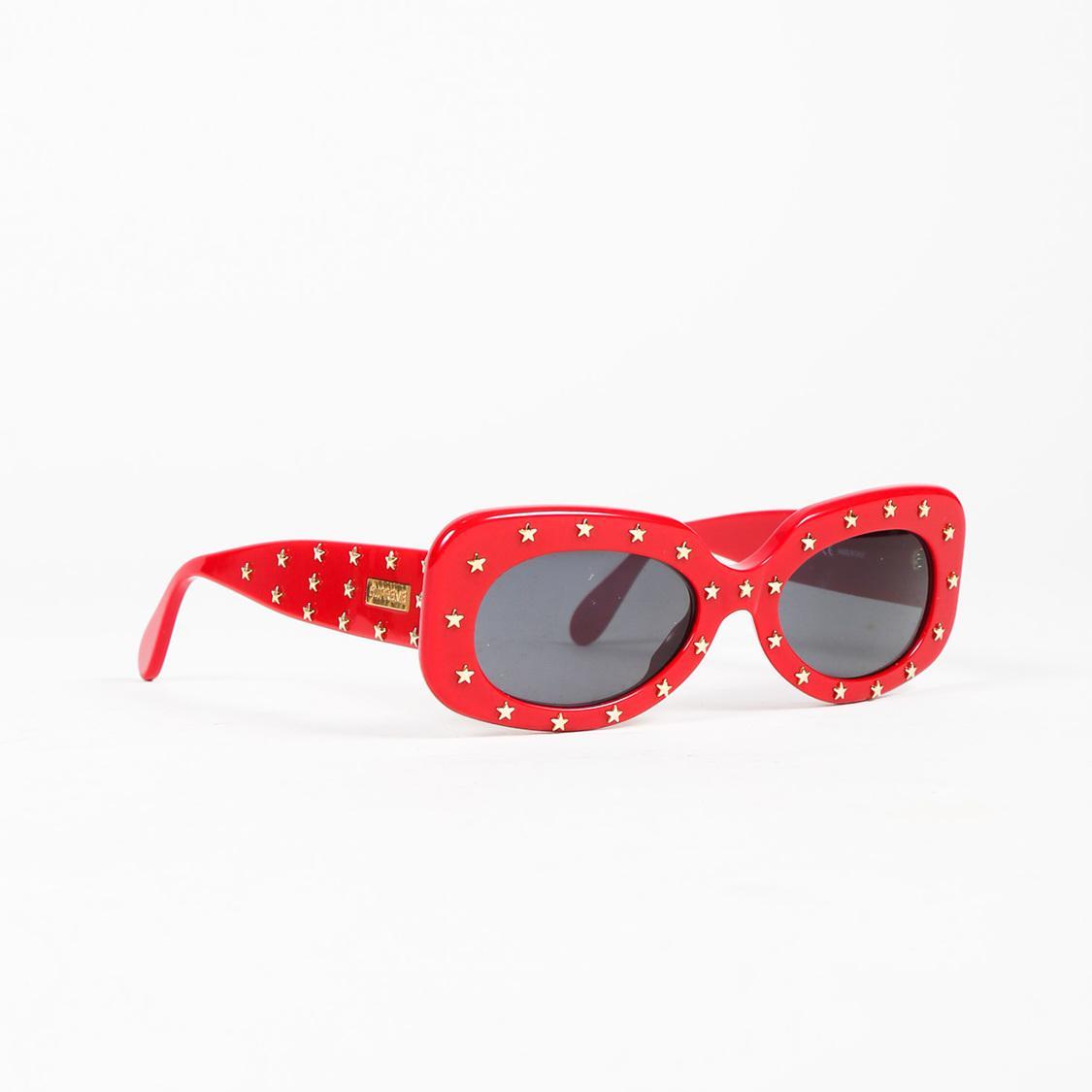 Supreme Red Gold Tone Star Embellished Royale Sunglasses Lyst