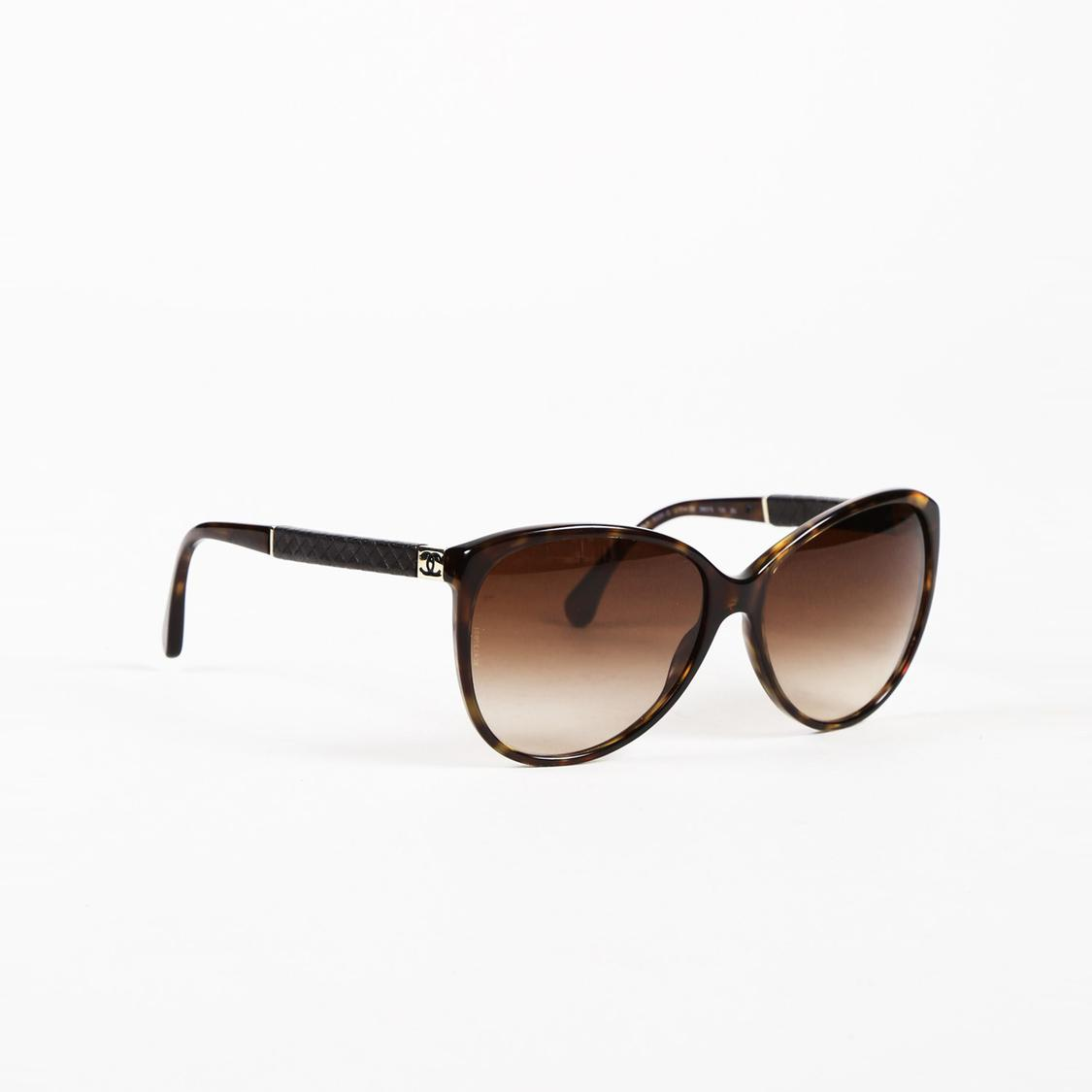 ce0b04f1665 Chanel Tortoiseshell Quilted  cc  Sunglasses in Black - Lyst