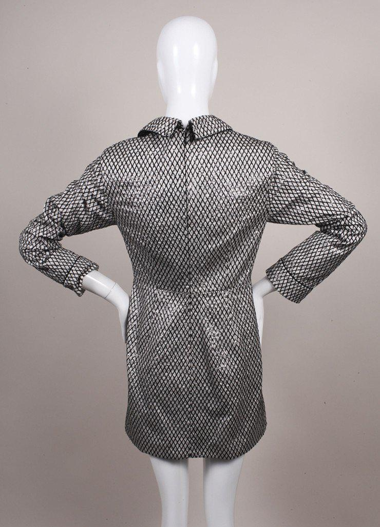 Marc Jacobs Silk New With Tags Black And White Diamond Print Sequin Long Sleeve Sheath Dress