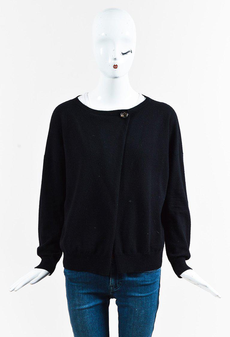 60c87a5d17 Lyst - Brunello Cucinelli Black Cashmere Elbow Patch Cardigan in Black