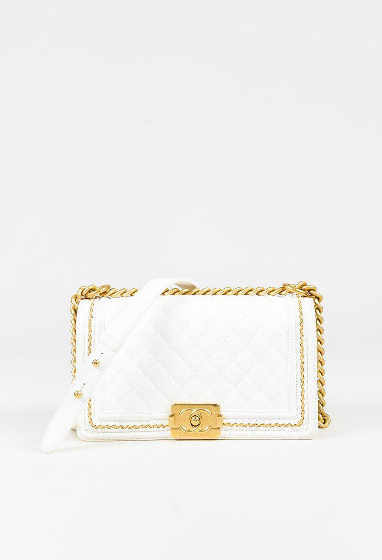 60f7d225a04b Lyst - Chanel White Quilted Lambskin Leather