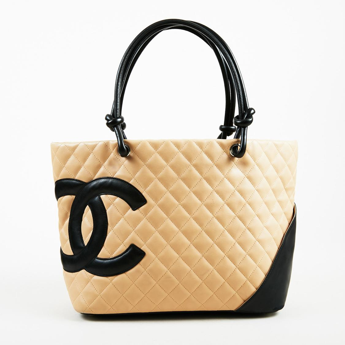 8cfba2f5dcce Chanel Beige Black Quilted Calfskin Leather