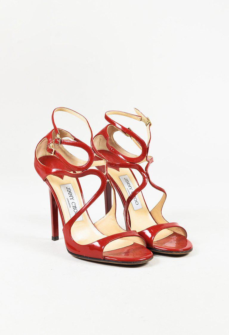 0090a90d5b9 Lyst - Jimmy Choo Red Patent Leather