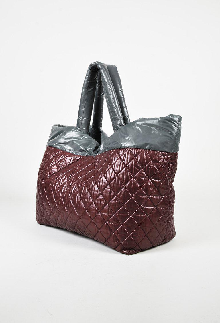 92cefe702701 Lyst - Chanel Red Grey Quilted Nylon Reversible