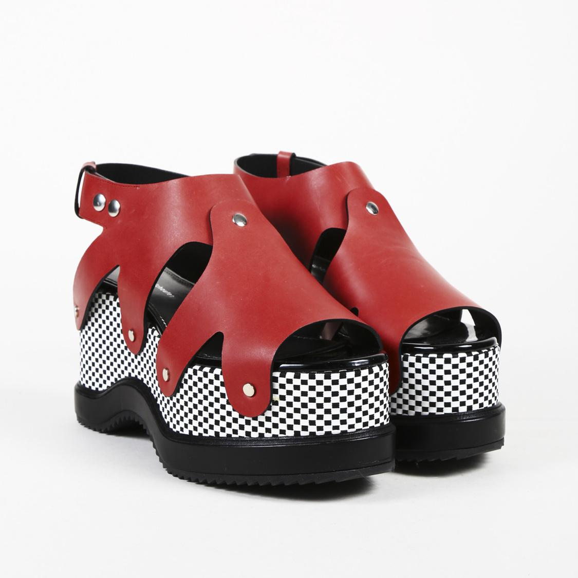 718e298ac76 Lyst - Proenza Schouler Checked Leather Platform Sandals in Red