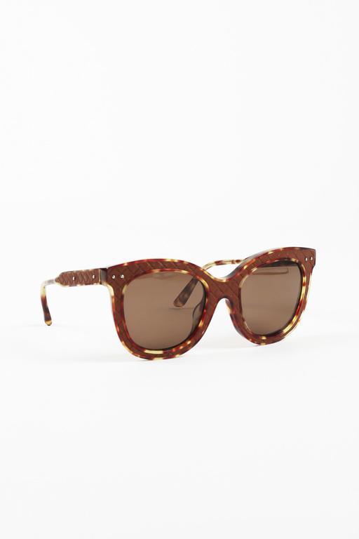 320c92b061 Lyst - Bottega Veneta Brown Quilted Cat Eye Sunglasses in Brown