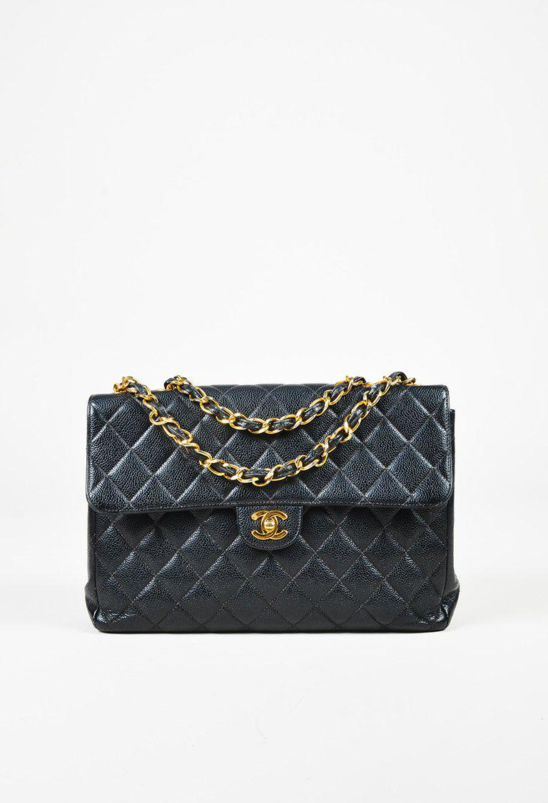 Chanel Quilted Caviar Leather Quot Maxi Classic Single Flap