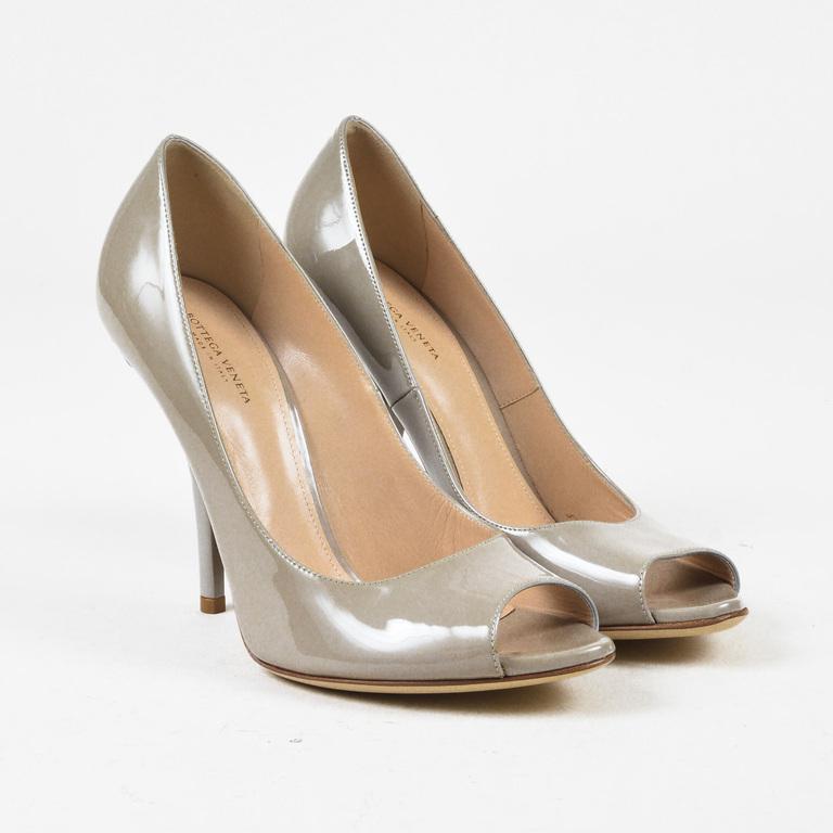 b15c396a5b6 Bottega Veneta. Women s Gray Grey Patent Leather Intrecciato Woven Heel  Pumps