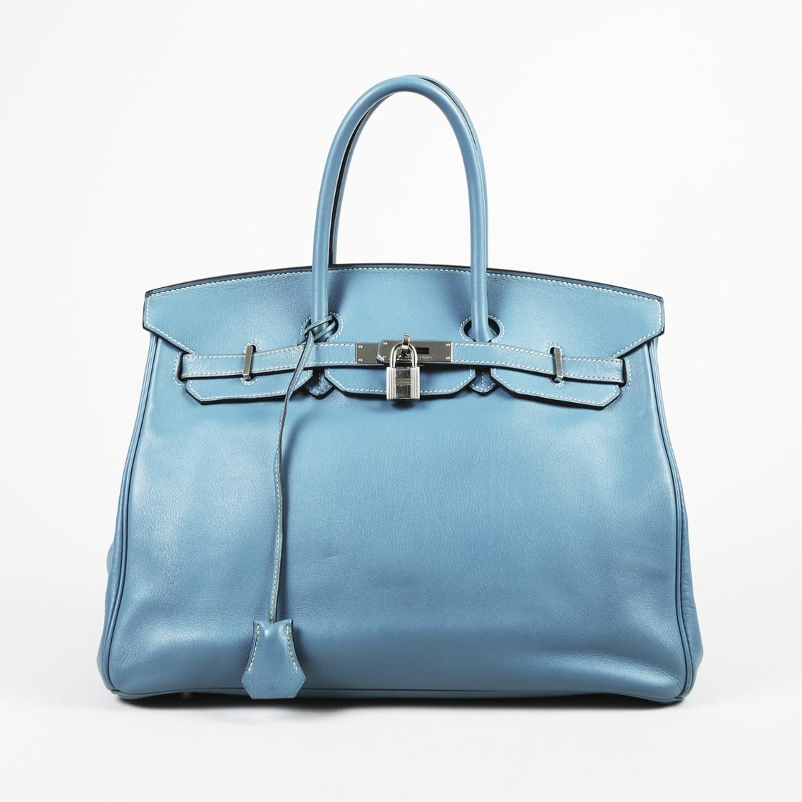 315ef9b77215 Lyst - Hermès Blue Jean Swift Leather
