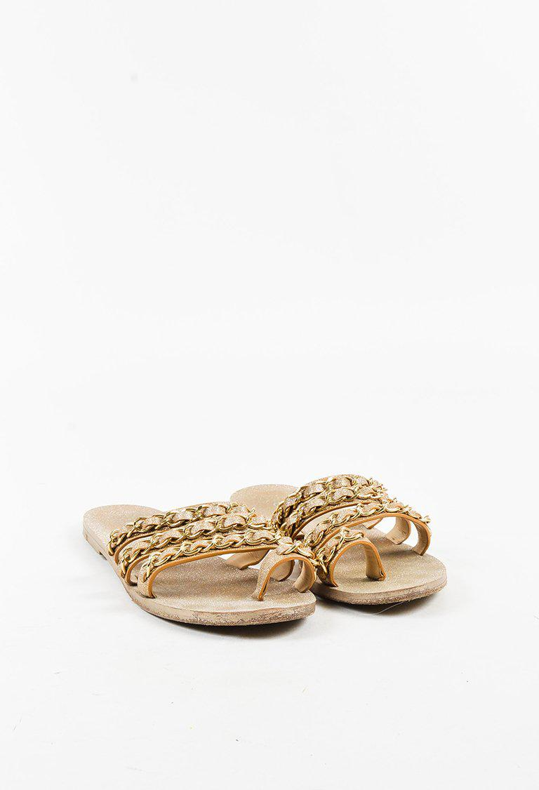 4a774612ce32 Chanel Metallic Gold Glittered Leather Chain Strap Ring Toe Slide ...