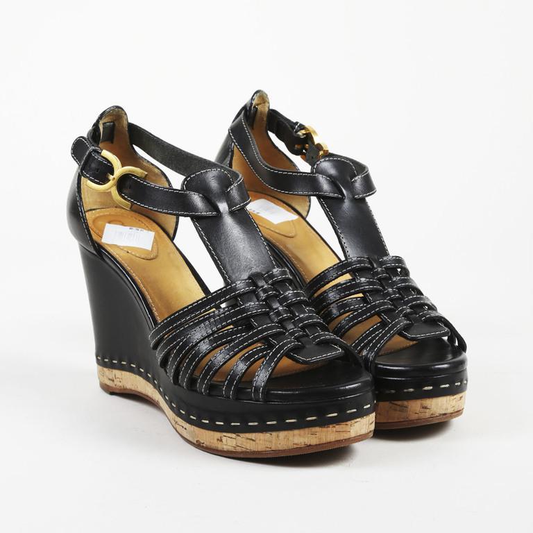 2a3e7f8c1ec Chloé Black Leather Open Toe Cork Wedge Heel Sandals in Black - Lyst