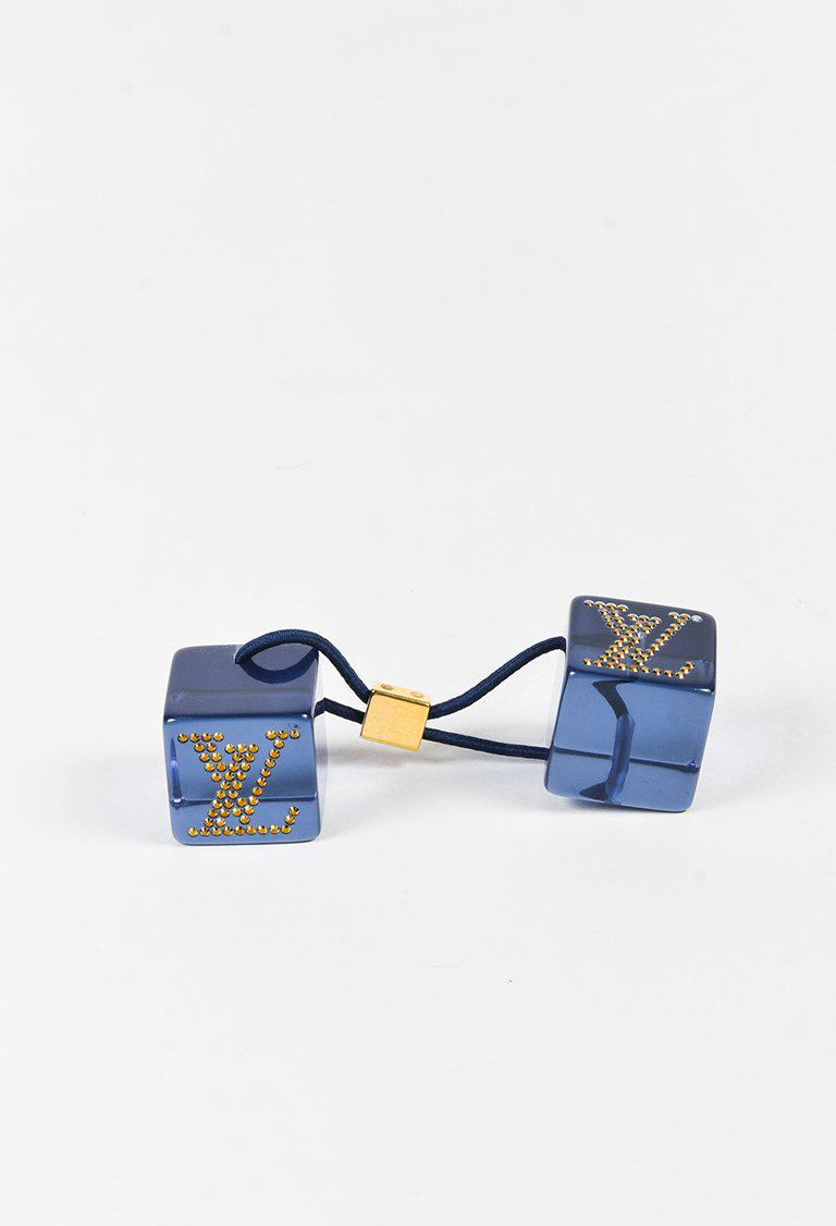 Lyst - Louis Vuitton Blue Lucite Cube Crystal Embellished  lv  Hair ... 6a8897eb4e6
