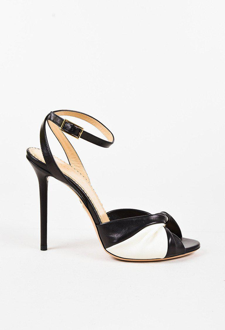 c3bde87a97fbc Charlotte Olympia Black Cream Leather Color Block Twisted Sandals in ...