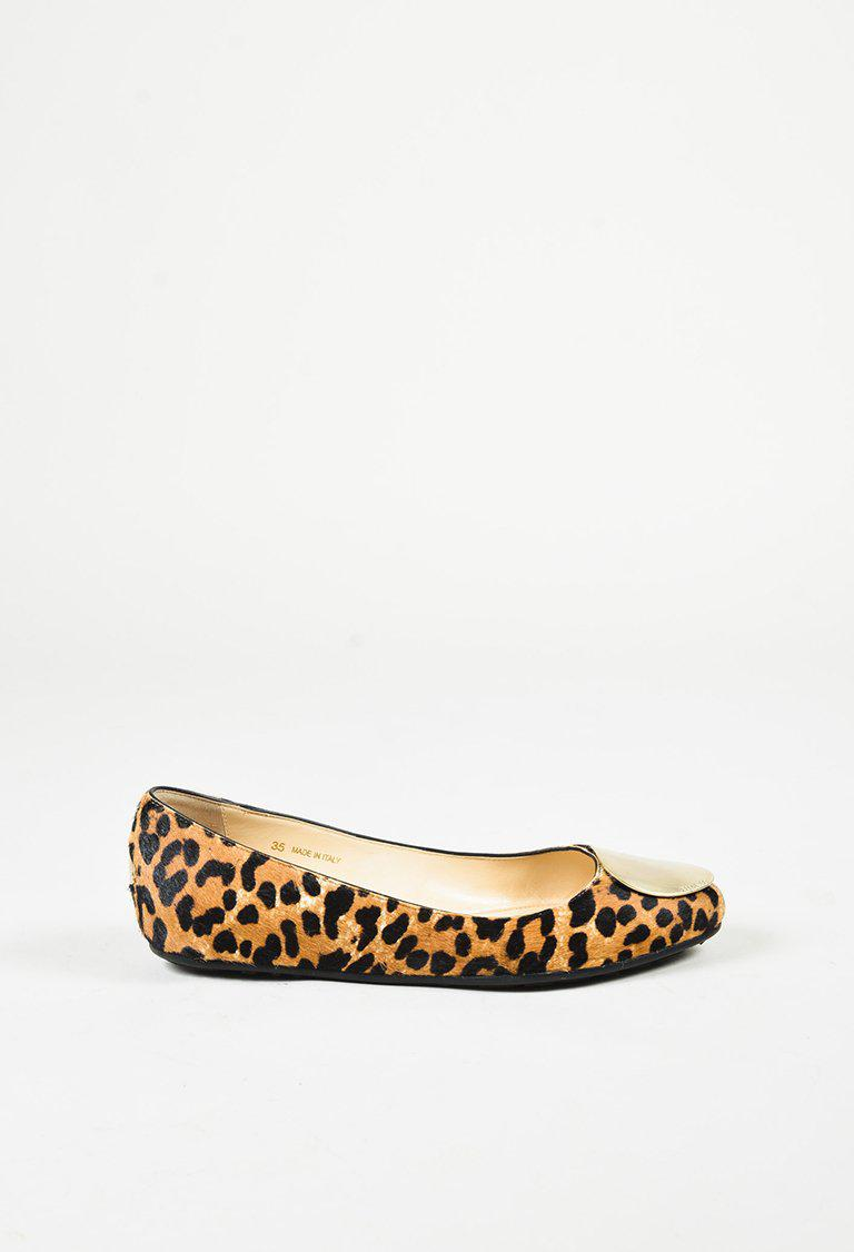 607589f31d74 Lyst - Jimmy Choo Brown Black Calf Hair Leopard Gold Tone Flats
