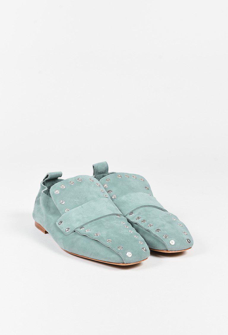 6b7bd4c2003 Lyst - Céline Light Teal Blue Suede Studded Loafer Flats in Blue