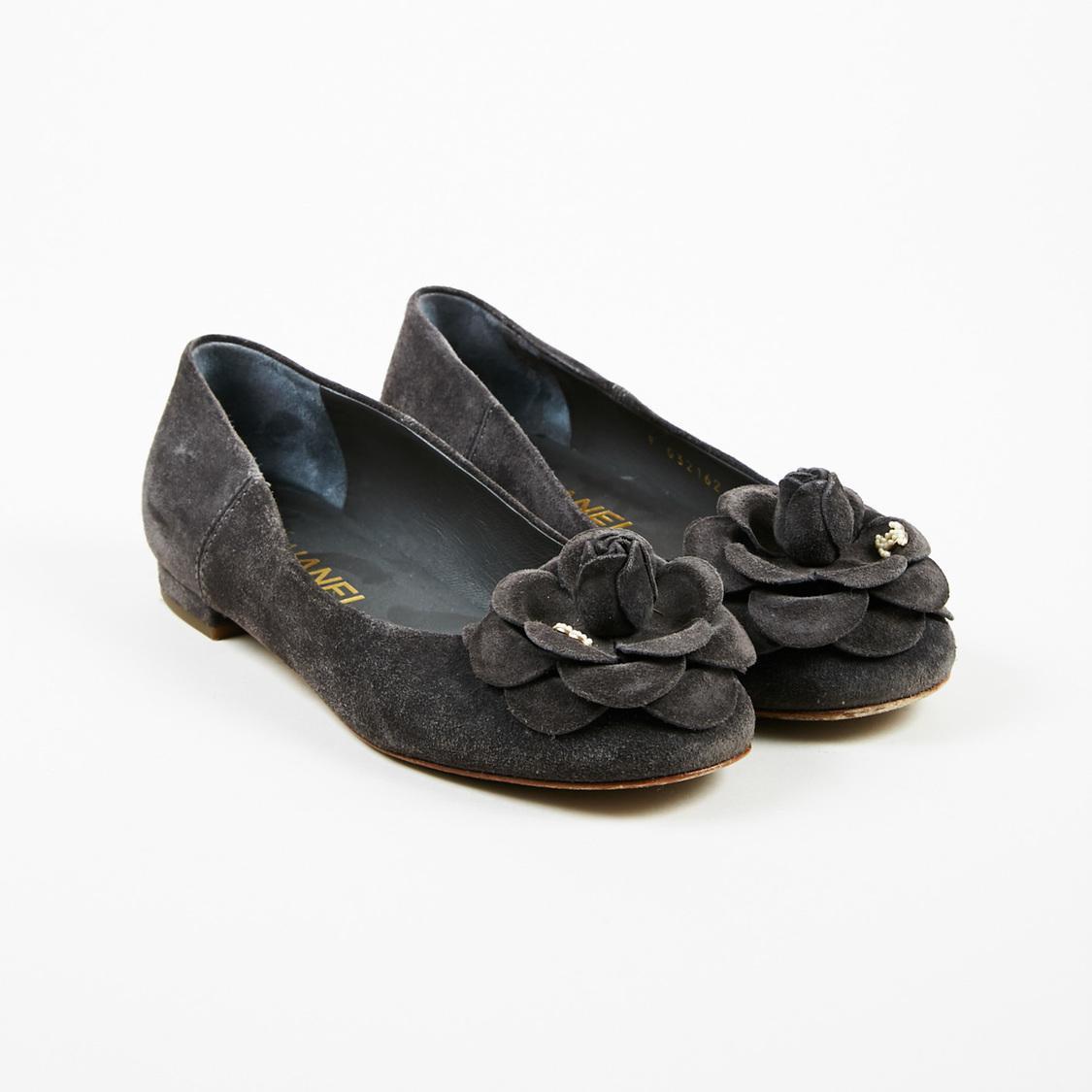 43328d62d Lyst - Chanel Gray Suede Faux Pearl 'cc' Camellia Flower Ballet ...