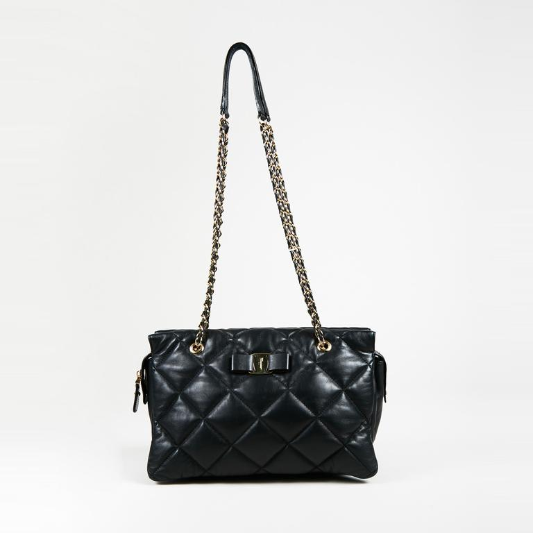 ae42afefb9 Ferragamo. Women s Black Quilted Calfskin Leather