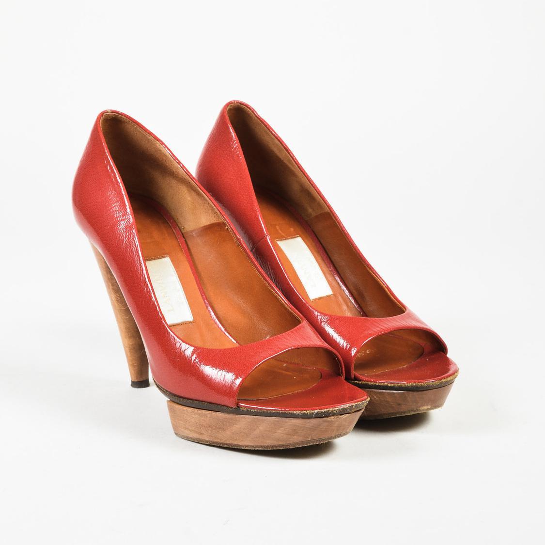 Red Wooden Heels
