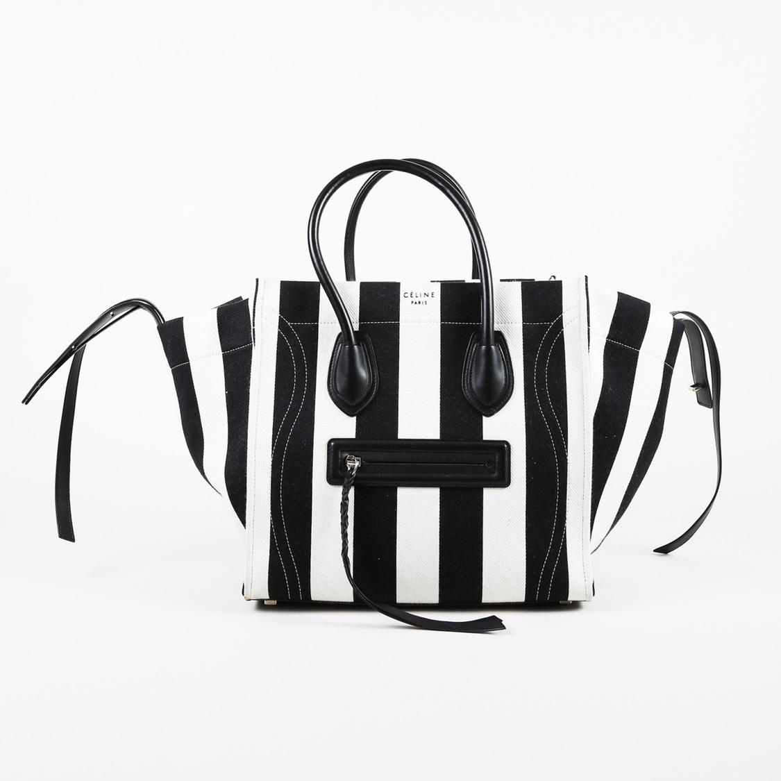 Black White Striped Canvas Medium Phantom Luggage Tote Bag